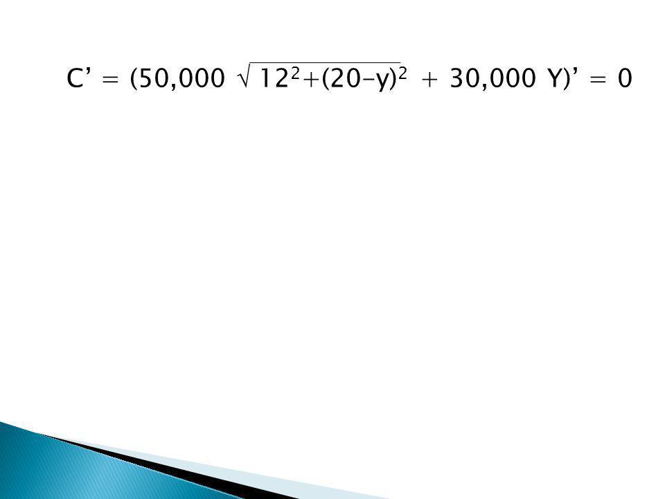 C' = (50,000  122+(20-y)2 + 30,000 Y)' = 0 0 = [50,000 {122+(20-y)2 } 1/2+ 30,000 Y]' 0 = 50,000 (1/2) (2) (20-y)(-1) .